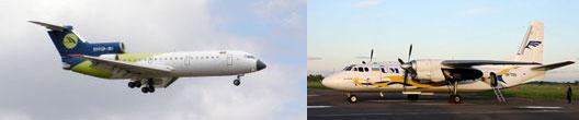 Самолеты Як-42Д и Ан-24 (слева направо).