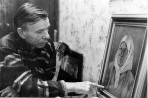Владимир Тарханов у портрета матери. 2000 год.13;10;